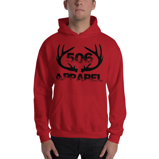 Hooded Sweatshirt - Flat Antlers - Black - 506 Apparel