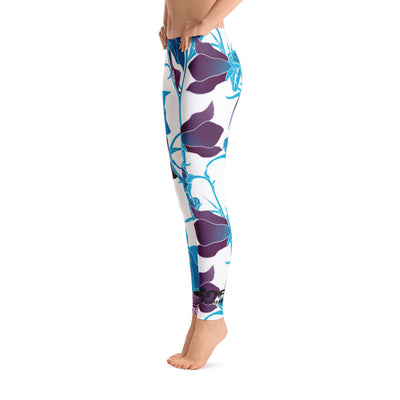 Leggings - Blue Floral - 506 Apparel