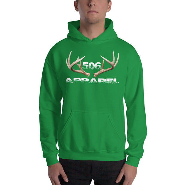 Hooded Sweatshirt - 3D Antlers - White - 506 Apparel
