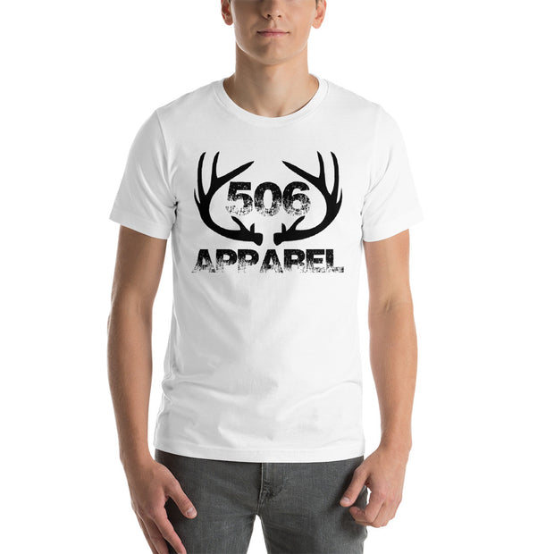 Short-Sleeve Unisex T-Shirt - Flat Antlers - Black - 506 Apparel