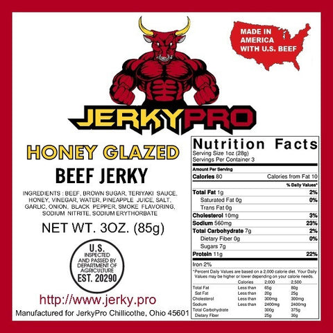 Shredded 3oz JerkyPro Honey Glazed Beef Jerky