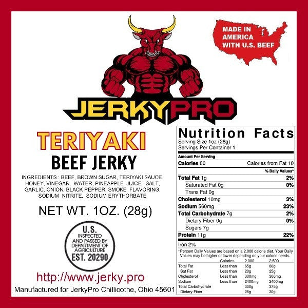 10 JerkyPro 1oz Teriyaki Shredded Beef Jerky Snack Packs