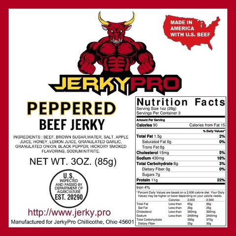 Shredded 3oz JerkyPro Peppered Beef Jerky