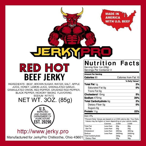 3oz JerkyPro Red Hot Beef Jerky
