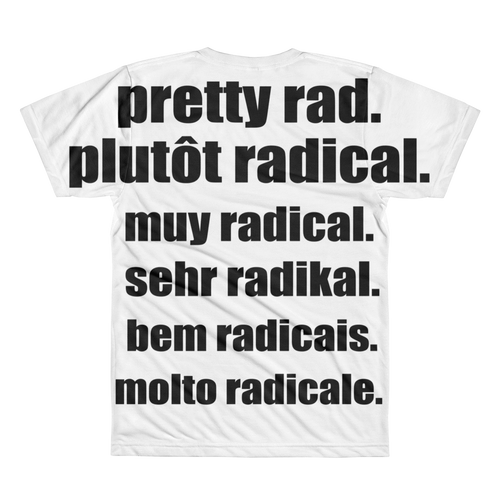 Pretty Rad Languages - Black - All-Over Printed T-Shirt