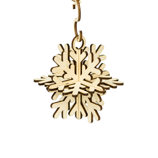 Three Dimensional Packs Flat Snowflake Ornaments - Set of 3