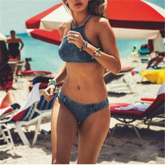 Jean High Neck Bikini Set