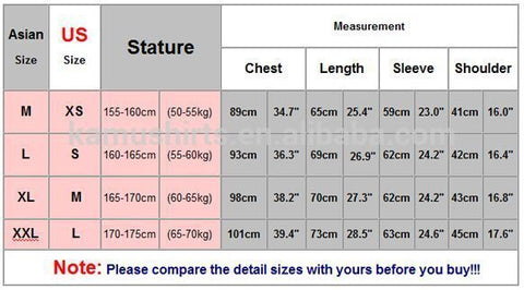 Asian size chart to us mens shirt us shirt size chart for Us shirt size chart