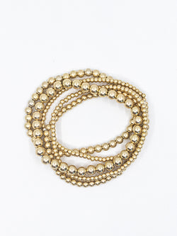 Gold Round Beaded Stack