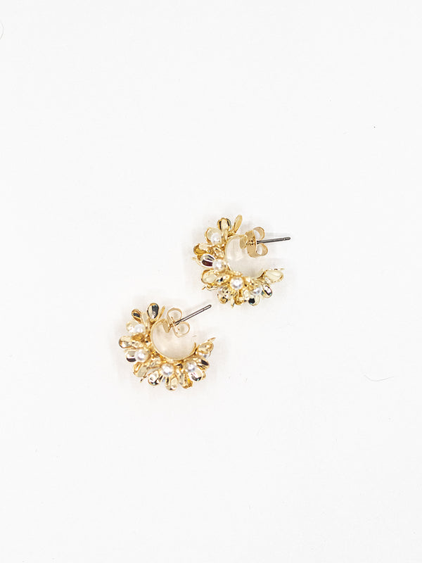 Gold Pearl Floral Earring