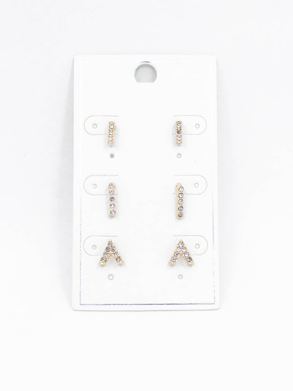 3pk Dainty Gold Earrings