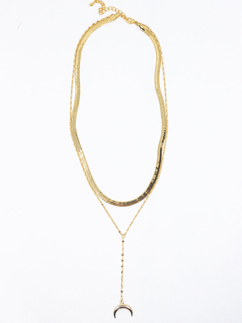 Herringbone + Horn Layered Necklace