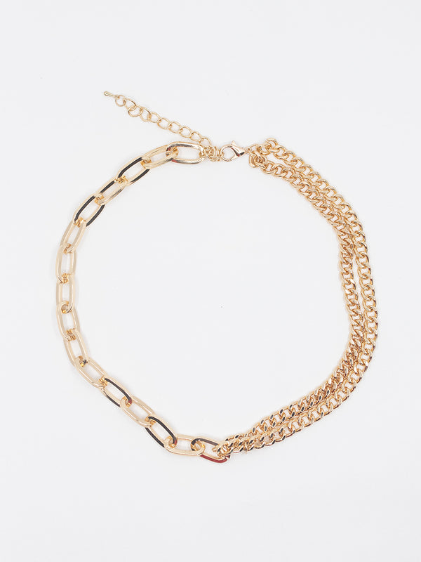 Gold Double Link Chain Necklace