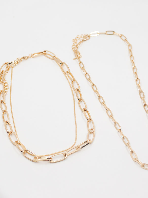 Multi Oval Link Gold Necklace