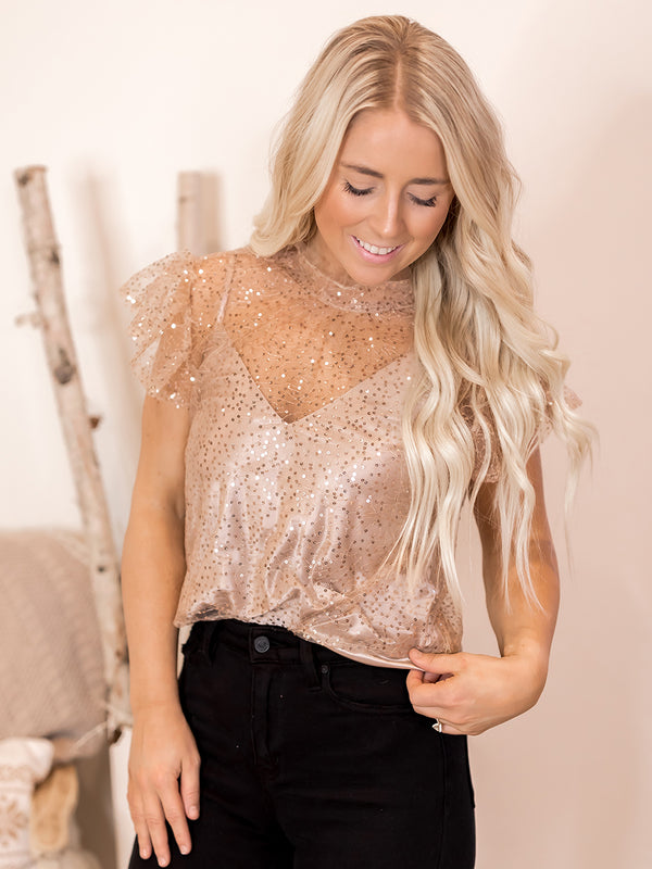 Cindy Lou Champagne Sequin Blouse