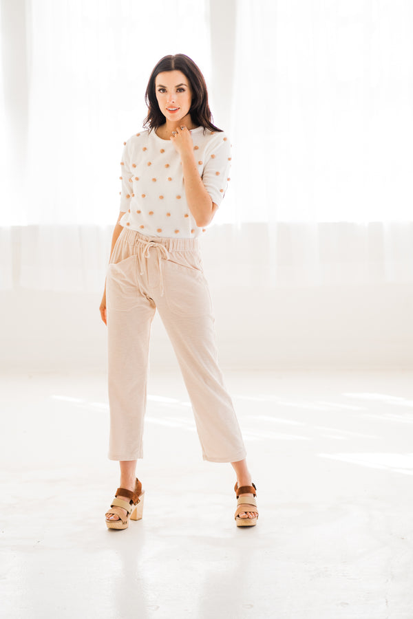 Cream Knit Stretchy Pants with pockets
