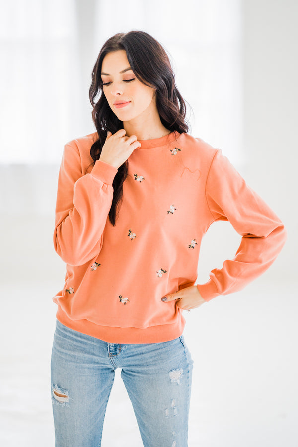 Daffodil Embroidered Crew Neck