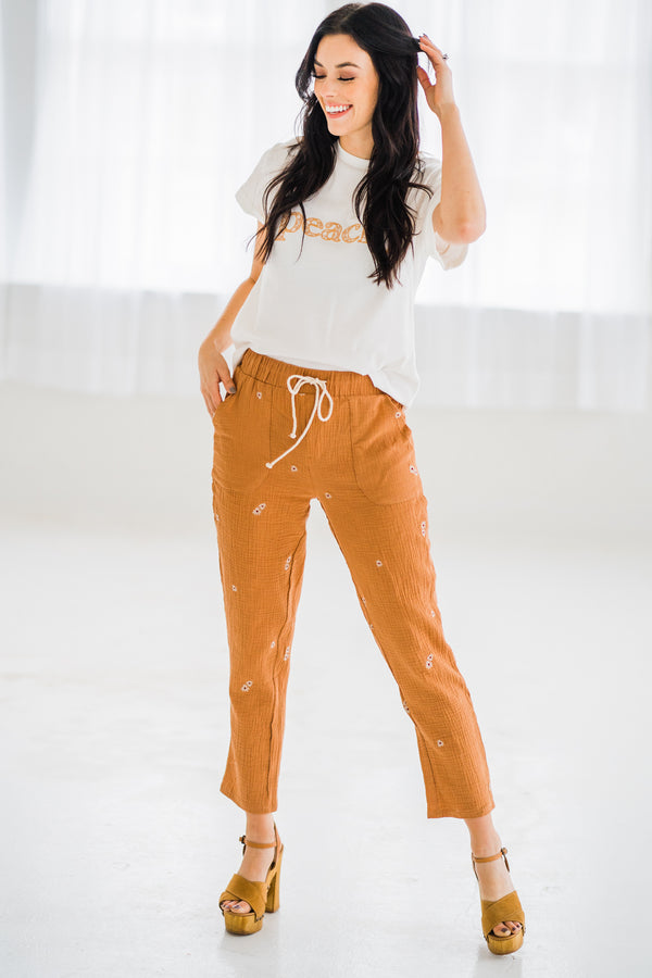 Camel Woven Embroidered Pants with peachy graphic tee