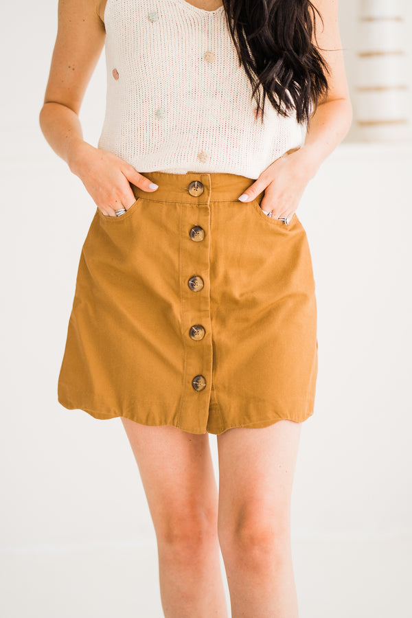 Camel Scalloped Mini Skirt with buttons