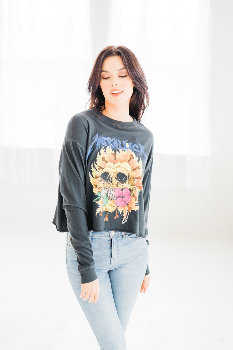 Metallica Flaming Skull Long Sleeve