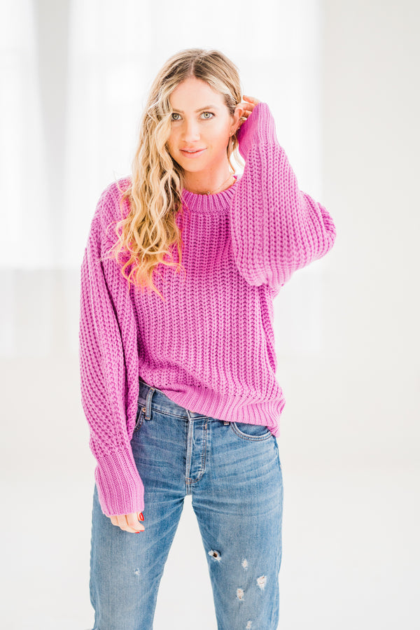 fuschia wide knit spring pink sweater