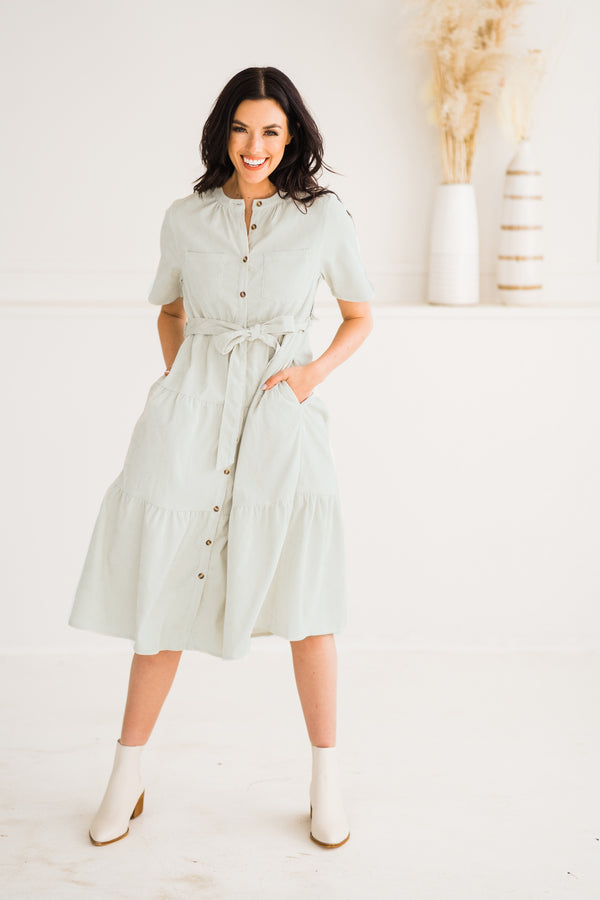 Mint Corduroy Midi Dress