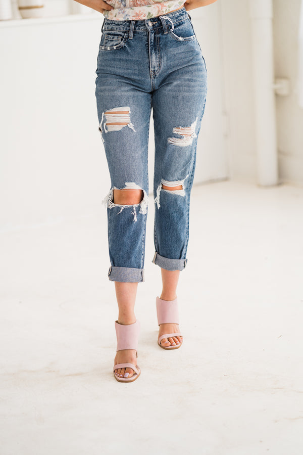 Emma Distressed Mom Jean