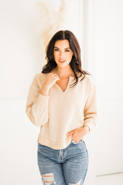Neutral Ribbed Pullover with elbow patches