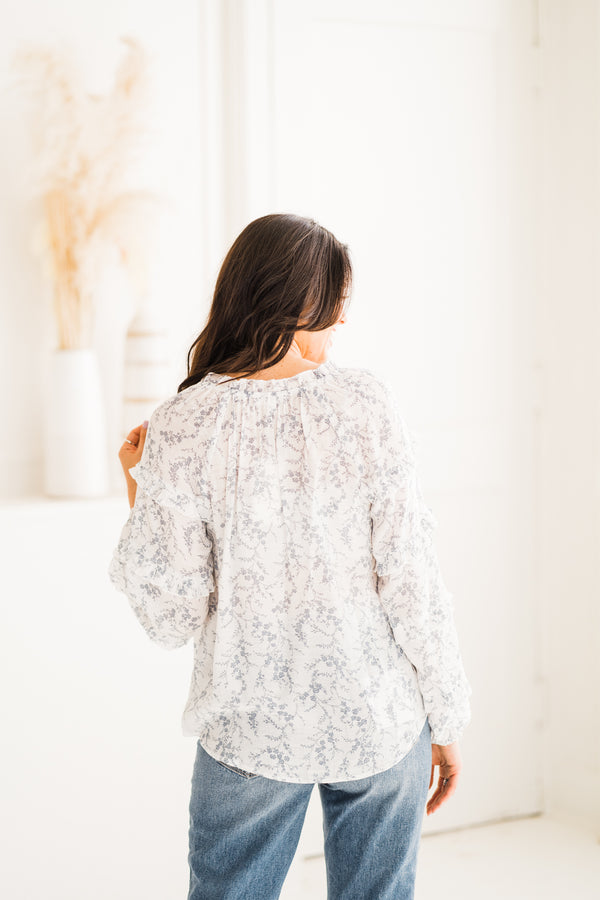 Robin Dusty Blue Floral Blouse