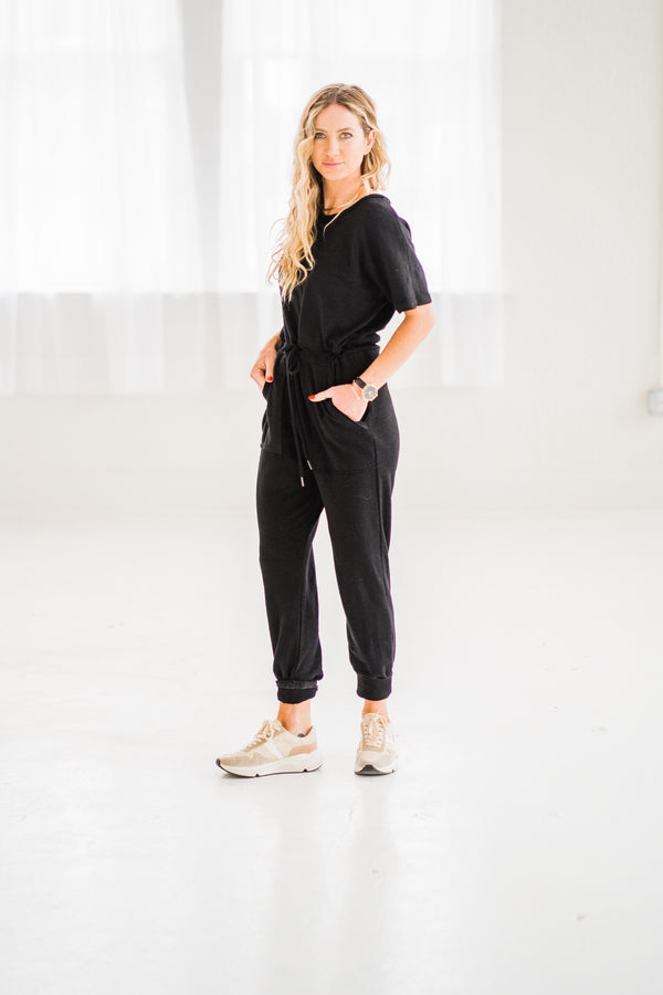 """Keeping It Casual"" Black Jumpsuit"