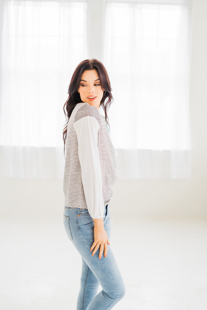 Kallie Ivory Stripe Top