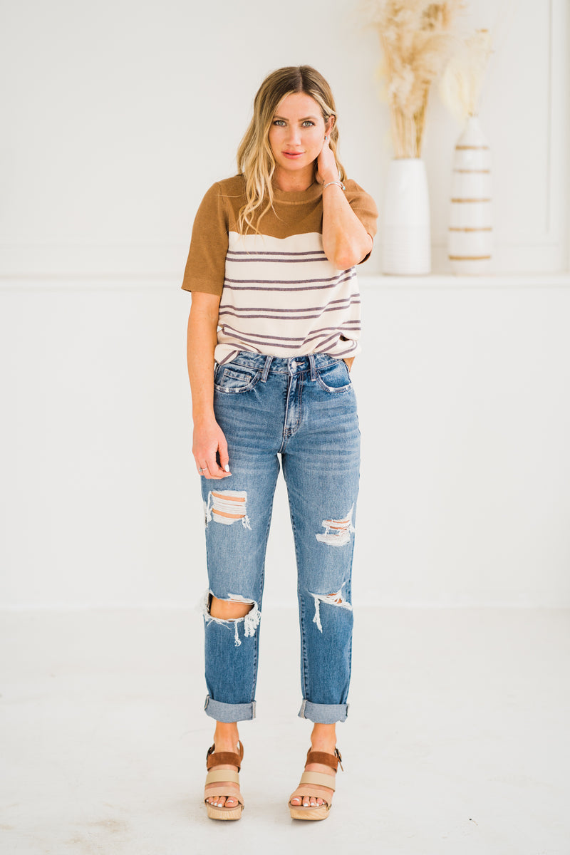 Vervet Emma Distressed Mom Jeans in medium wash