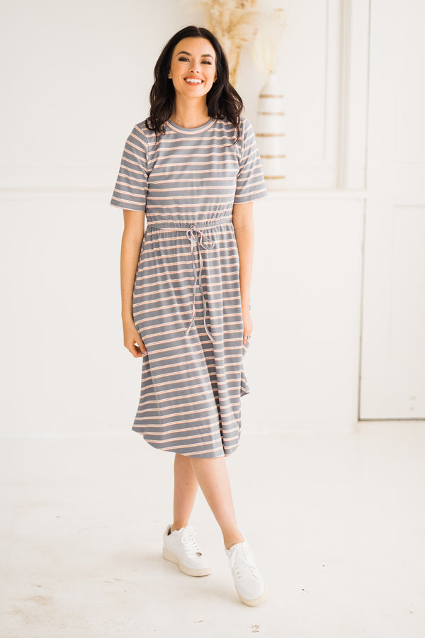 Causal Striped Ribbed Midi dress in blue and peach