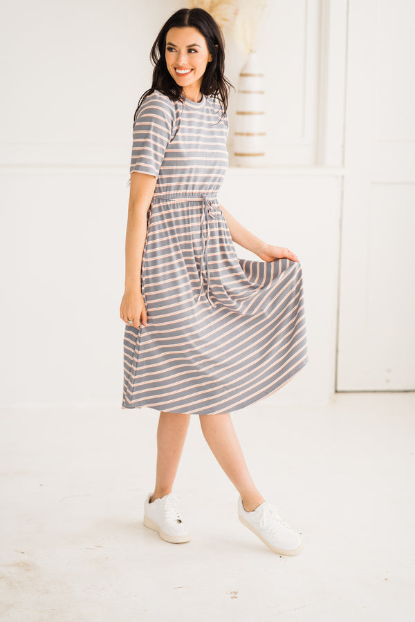 Blue + Peach Stripe Ribbed Midi Dress
