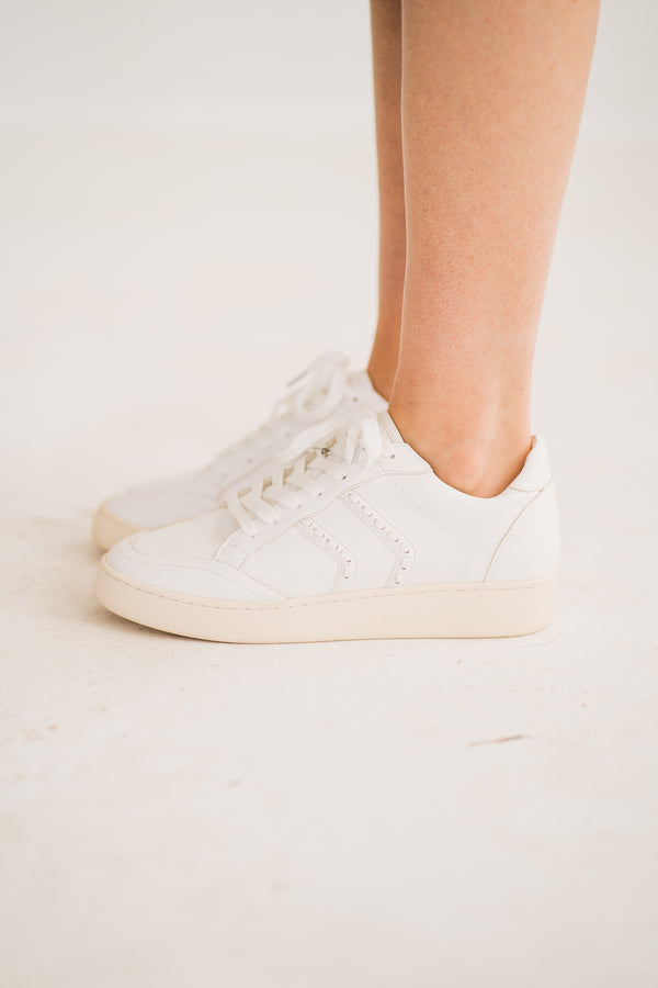 white stitch platform sneakers