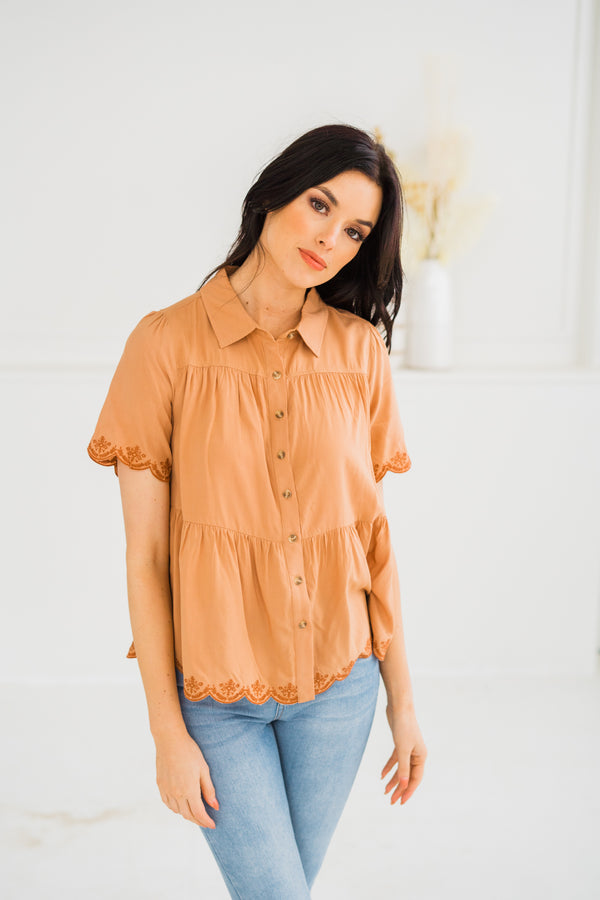 May Embroidered Babydoll Blouse