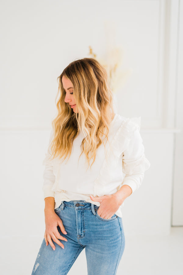 Cream Puff Ruffle Sweatshirt