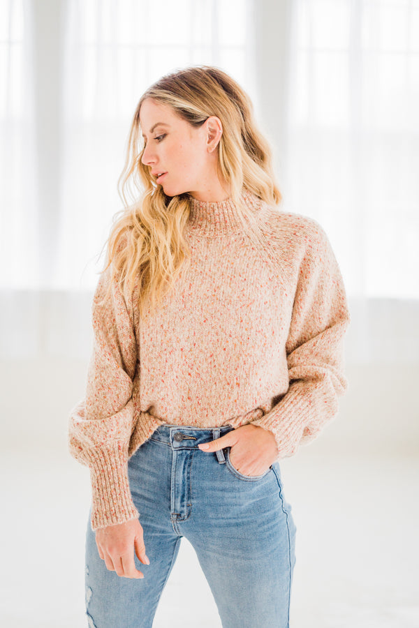 Flora Blush Speckled Sweater