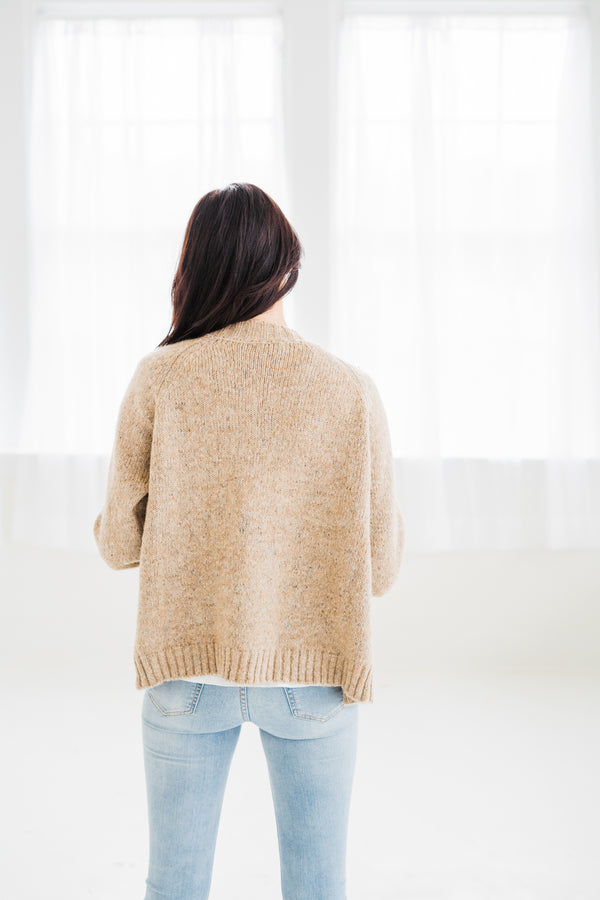 Lux Taupe Specked Button Cardi