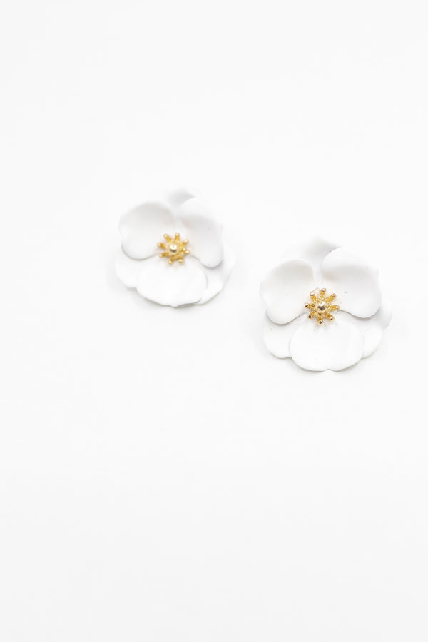 White Mini Floral Earring