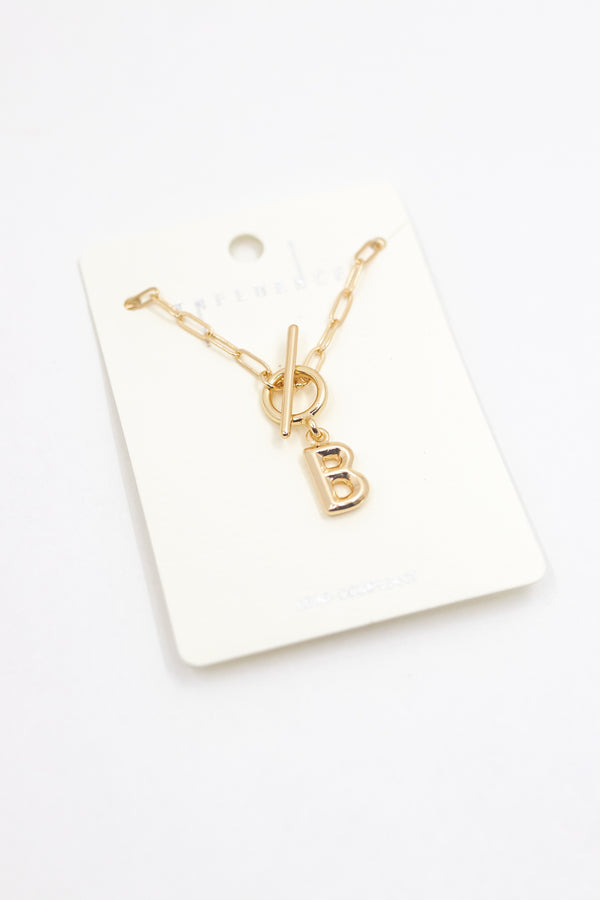 Junie Chain Link Initial Necklace