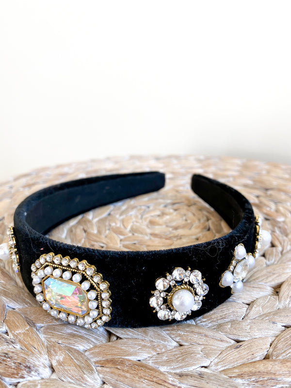 Black Velvet Bejeweled Headband