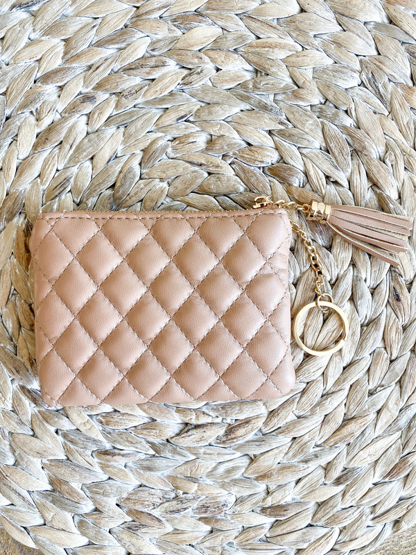 Nude Quilted Mini Wallet