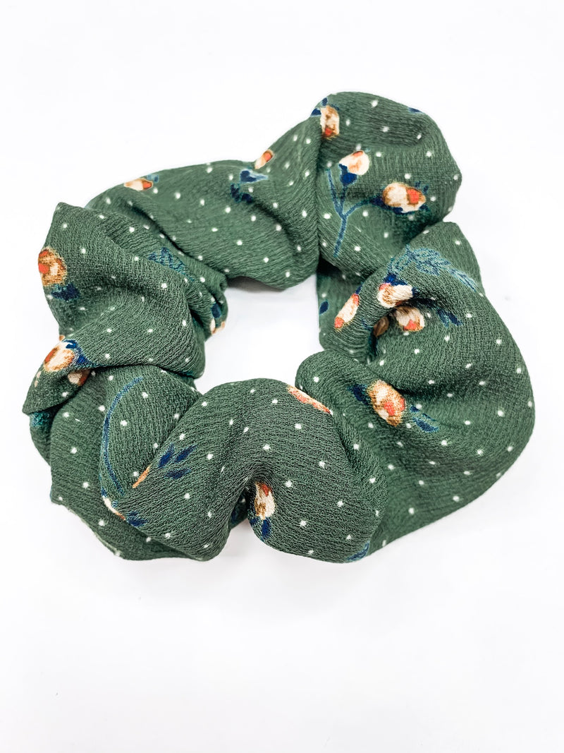 Hunter Green Polka Dot Scrunchie
