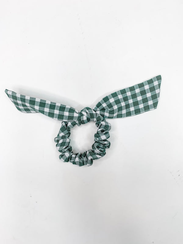 Sage Green Gingham Scrunchie