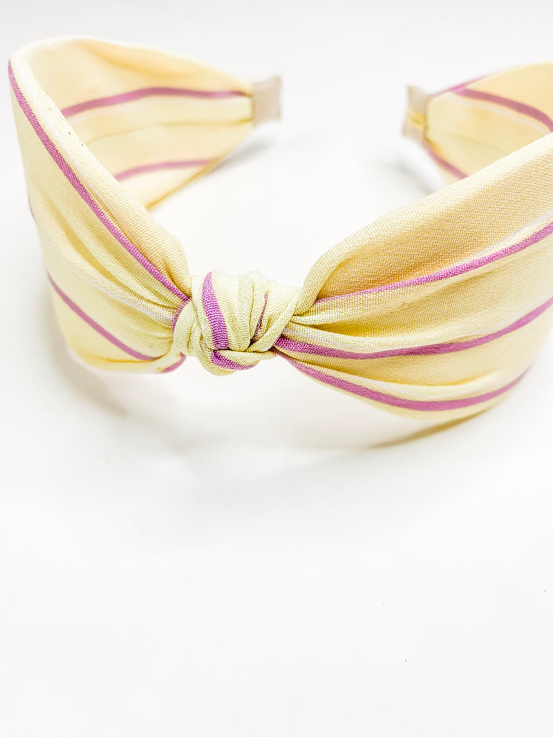 Pale Yellow + Pink Stripe Headband