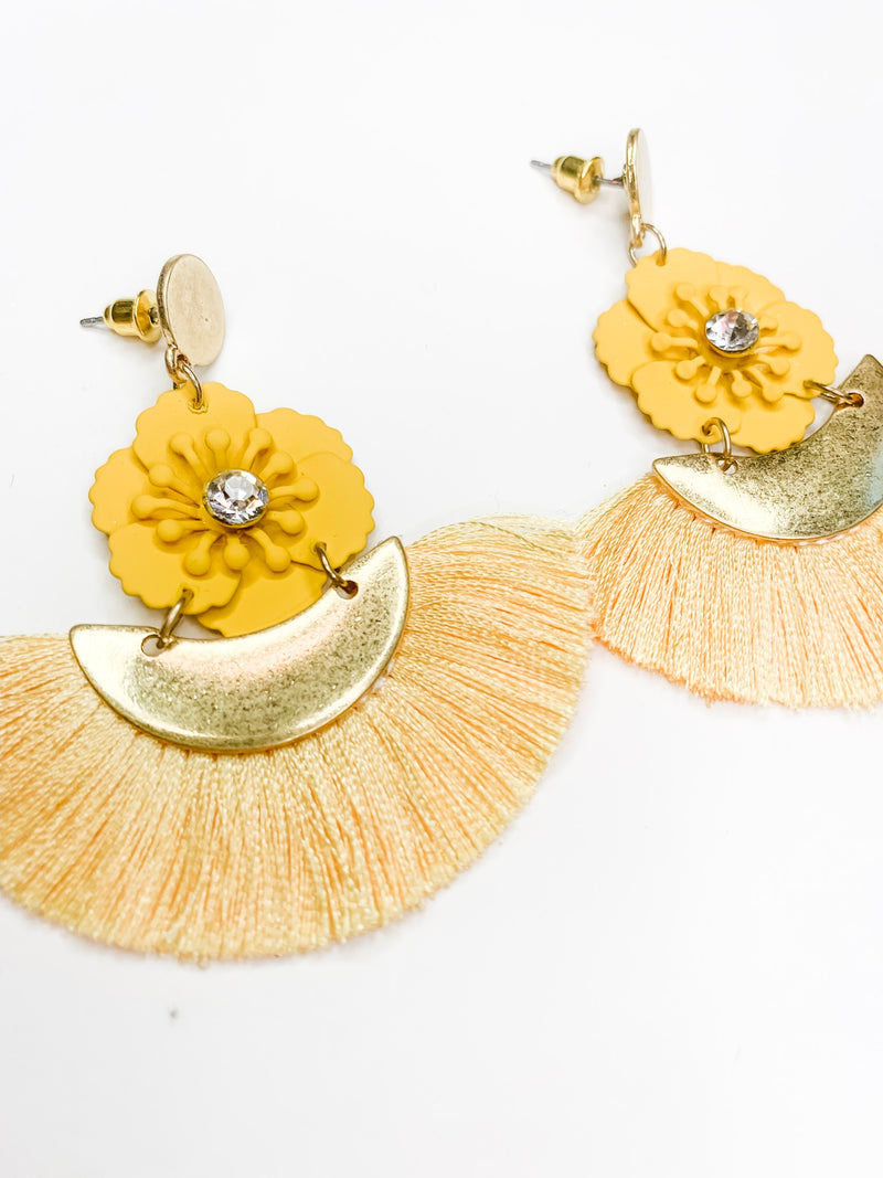 Yellow Flower Fringe Earring