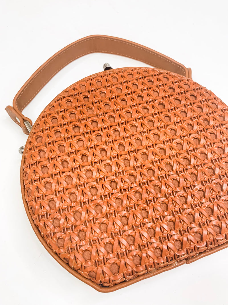 Brown Woven Leather Purse