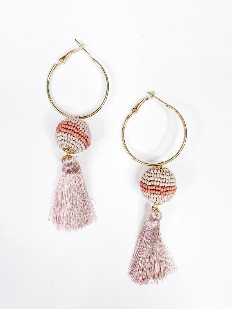 Hoop Beaded Fringe Earring