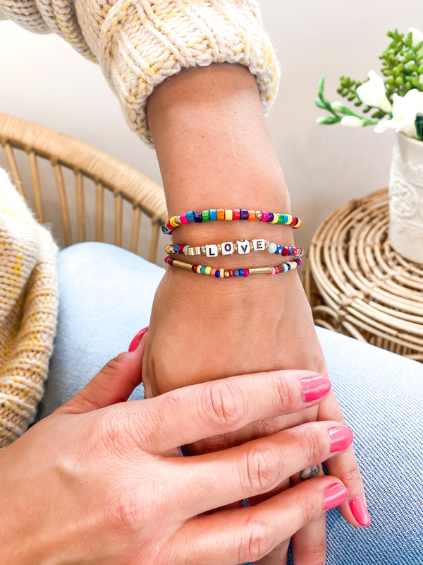 Rainbow Love Beaded Bracelet Set